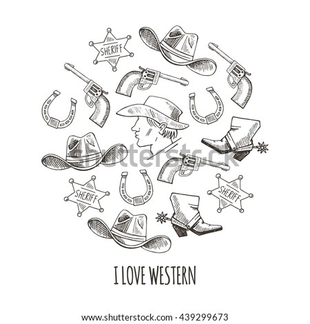 Western hand draw sketch vector set. Western background.  Cowboy,  boots, 	hat, horseshoe, star, colt