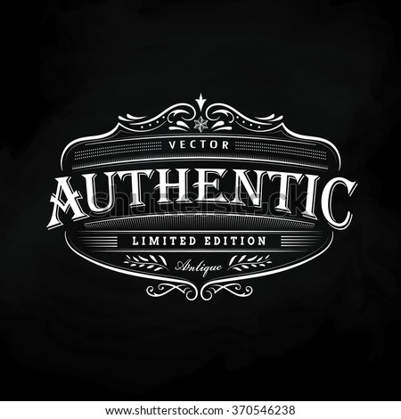 Western hand drawn frame vintage label blackboard retro banner vector illustration - stock vector