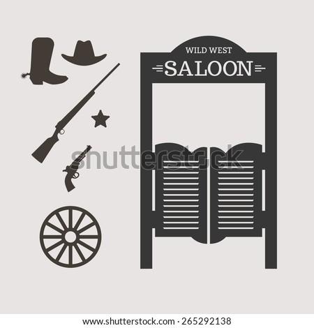 Western icons. Saloon door silhouette. Vector illustration - stock vector