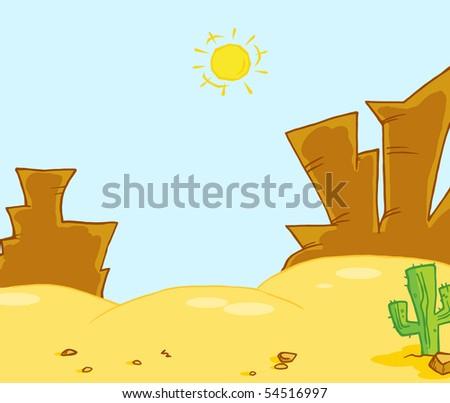 Western Landscape Illustration - stock vector