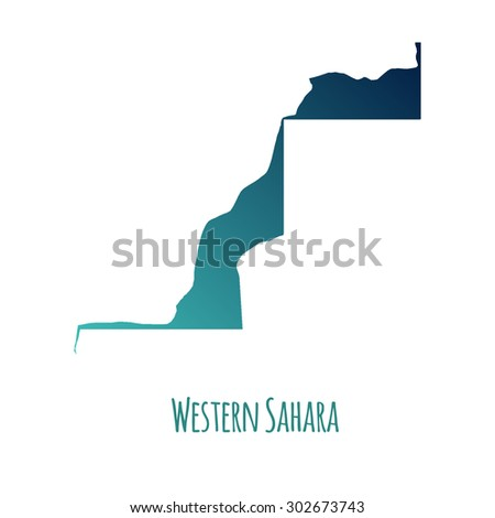 Western Sahara vector map with color gradient and caption on white background. Can be used as element of your infographics or presentation