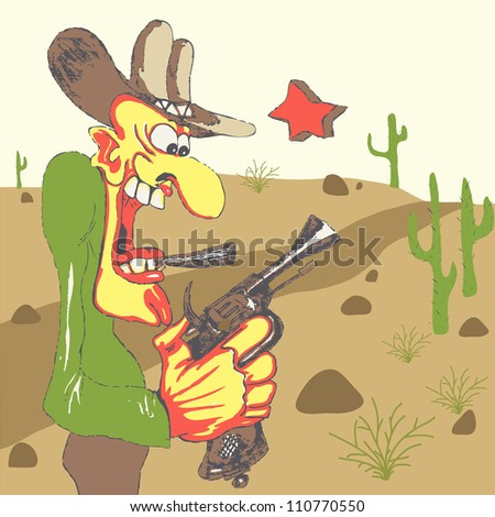 Western sheriff with his gun in western landscape - stock vector