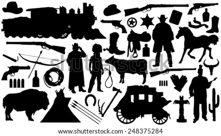 western silhouettes on the white background - stock vector