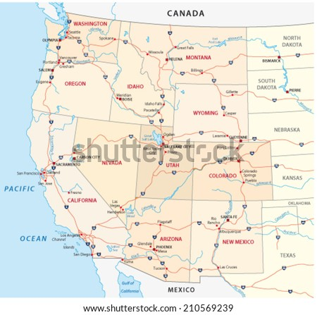 Western United States Map Stock Vector Shutterstock - Western us states map