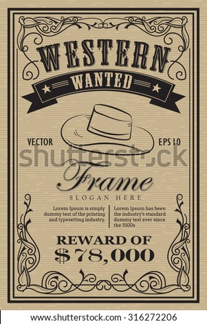 Western Vintage Frame Label Wanted Retro Stock Vector
