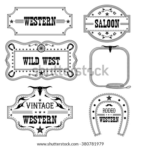 Western Vintage Labels Isolated On White Stock Vector 380781979 ...