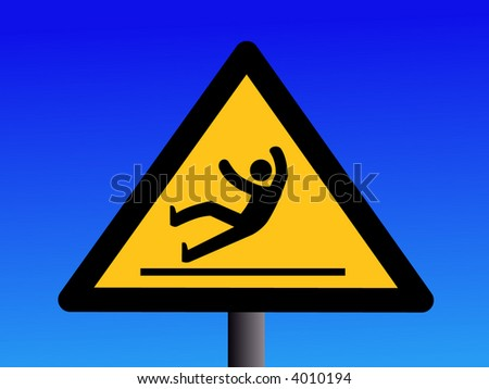wet and slippery floor sign on blue illustration - stock vector