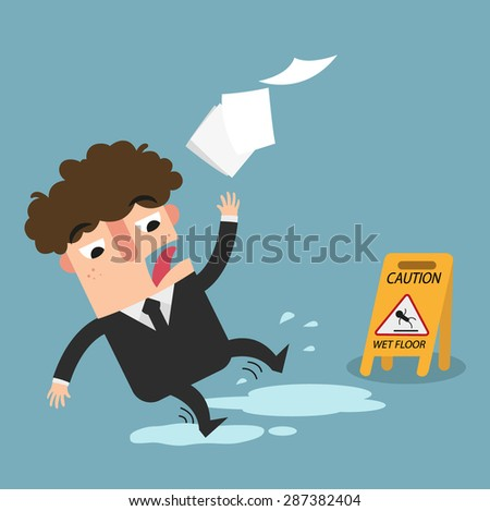 wet floor caution sign.Danger of slipping isolated illustration vector - stock vector