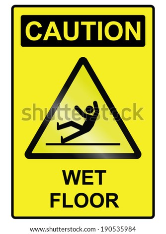 Wet floor hazard public information sign isolated on white background - stock vector