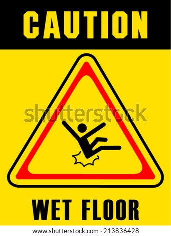 wet floor sign on white board