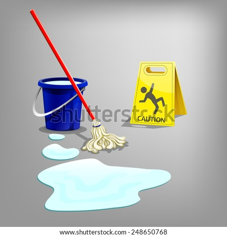 Wet floor sign with drop water, bucket and mop. Vector illustration. - stock vector