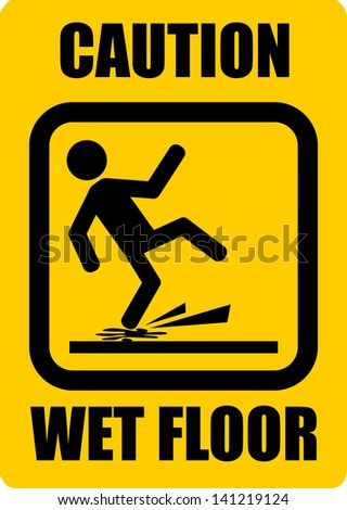 Wet Floor, sticker - stock vector