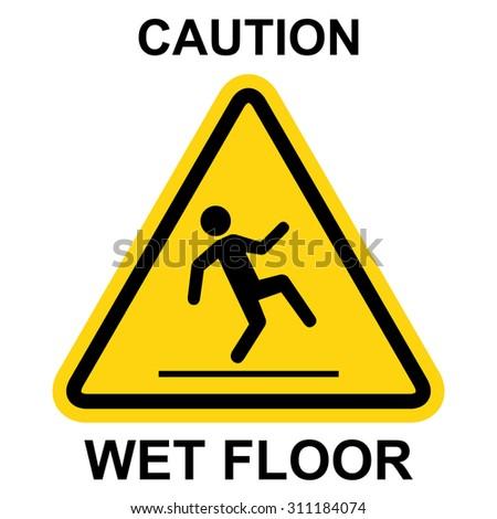 Wet floor warning sign - stock vector