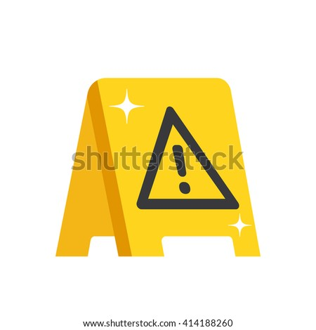 Wet floor warning sign. Modern flat design for web banners, web sites, printed materials, infographics. Yellow wet floor symbol. Vector illustration
