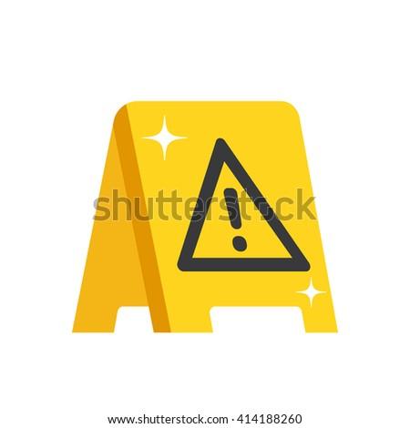 Wet floor warning sign. Modern flat design for web banners, web sites, printed materials, infographics. Yellow wet floor symbol. Vector illustration - stock vector