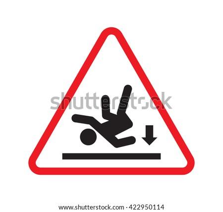 Wet floor warning sign - slippery floor sign - stock vector