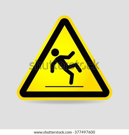 Wet floor warning sign. Slippery wet floor caution sign. - stock vector