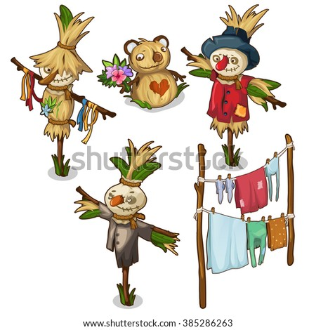 Wet linen and clothing shall be protected by scarecrows. Vector illustration.