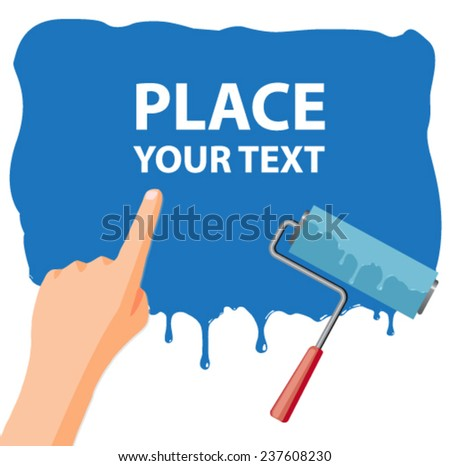 wet paint message poster - flat design vector  - stock vector