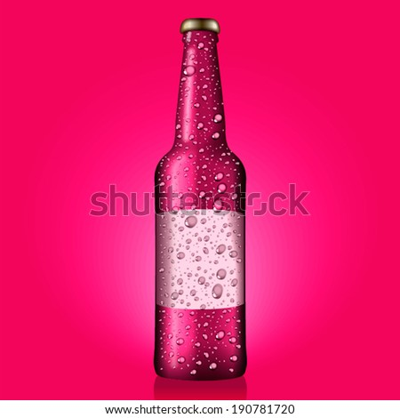 Wet pink bottle with blank etiquette - stock vector