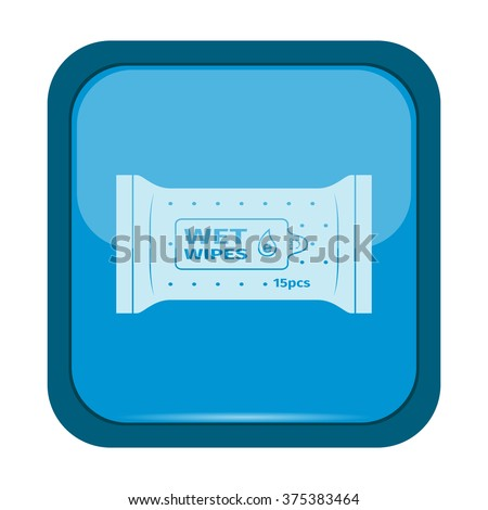 Wet wipes icon on a blue button, vector illustration - stock vector