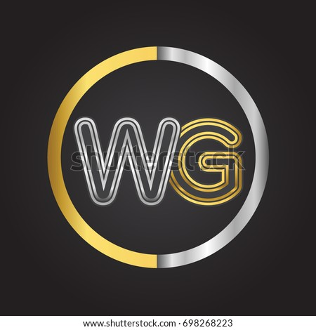 Merveilleux WG Letter Logo In A Circle. Gold And Silver Colored. Vector Design Template  Elements