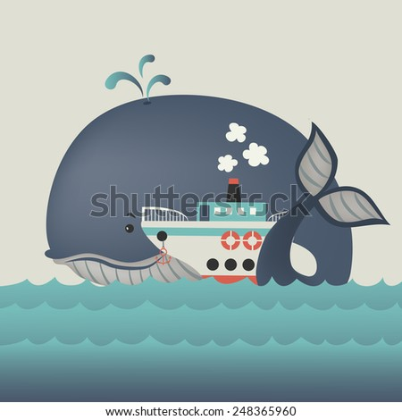 Whale and steamship in blue sea . Vector illustration