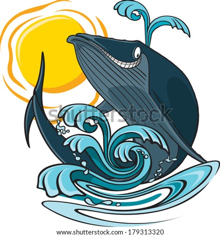 Whale and water A cartoon whale jumping out of the water. Layered vector file available. - stock vector