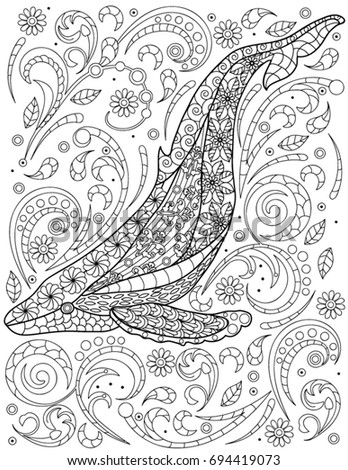 Whale Coloring Book Page