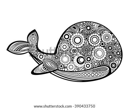 Vector Monochrome Hand Drawn Crab Sea Stock Vector 444318901