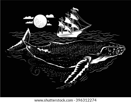 Whale Illustration under the water. Small ship above. Vector illustration