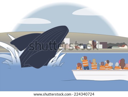 Whale jumping at port madryn patagonia - stock vector