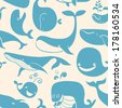 Whale. Seamless background. Seamless pattern can be used for wallpaper, pattern fills, web page background, surface textures - stock vector