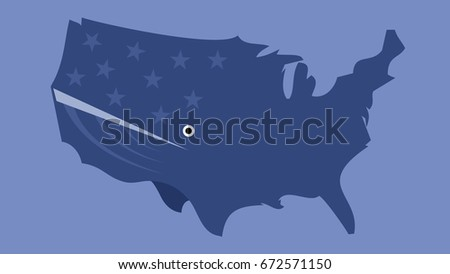whale shaped us map isolated silhouette usa map symbol logo tattoo