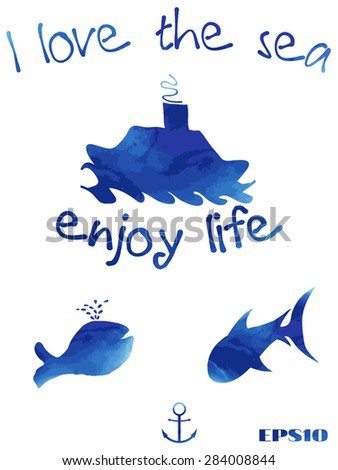 whale, shark, ship, letter, word, picture, watercolor, anchor,vector - stock vector
