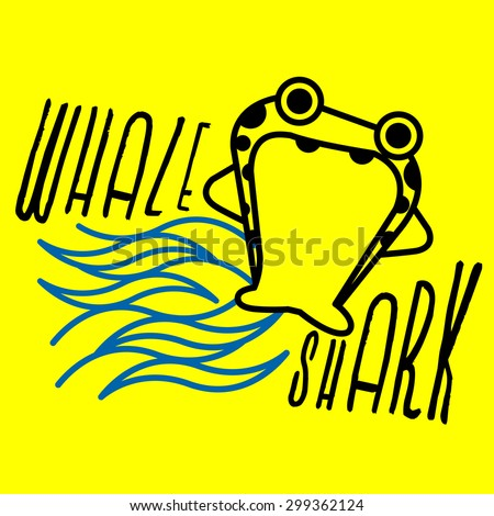 WHALE SHARK The gigantic shark with square head and big mouth, whale shark, is surfing on the blue waves. - stock vector