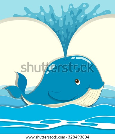 Whale splashing water out illustration