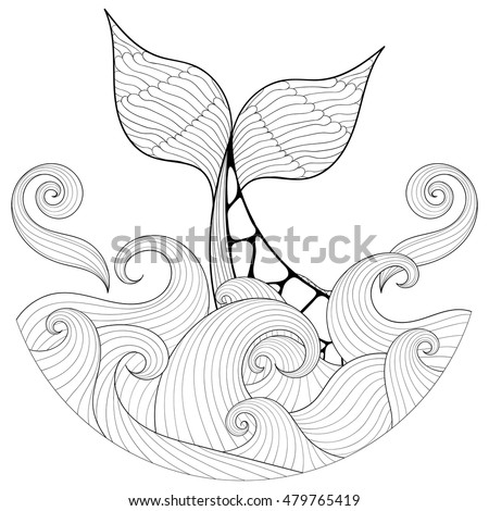 Ocean Waves Coloring Pages For Adults Whale Tail Zentangle Style Freehand Stock Vector 479765419