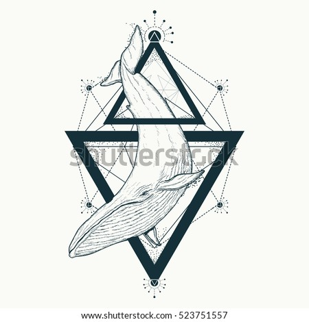 Whale tattoo geometric style. Mystical symbol of adventure, dreams. Creative geometric whale tattoo art t-shirt print design poster textile. Travel, adventure, outdoors symbol whale marine tattoo