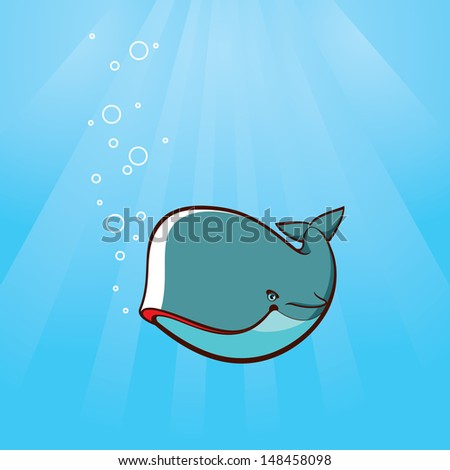 whale underwater - stock vector