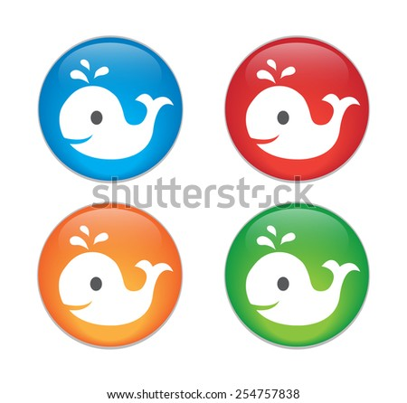 whale, vector icon. Glass Button Icon Set.  - stock vector