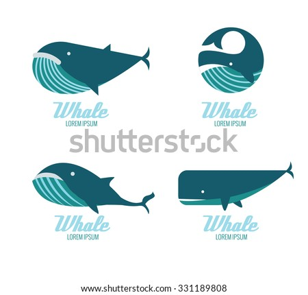 Whales icons. flat design elements. vector illustration - stock vector