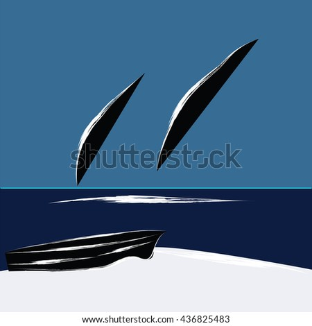 Whales jump from the ocean boat on the beach is an abstract art illustration the minimalism flat style blue background vector