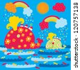 Whales on the walk. Seamless children's pattern. - stock