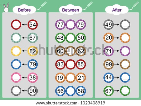 What Comes Before Between After Math Worksheets Stock Vector ...