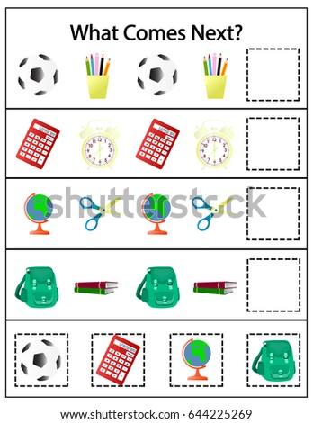 kindergarten worksheets what comes next kidz activities. Black Bedroom Furniture Sets. Home Design Ideas