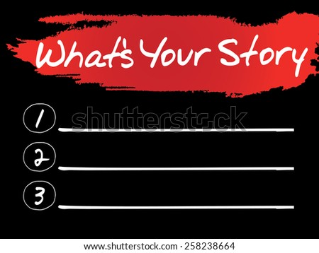 What's Your Story Blank List, vector concept - stock vector