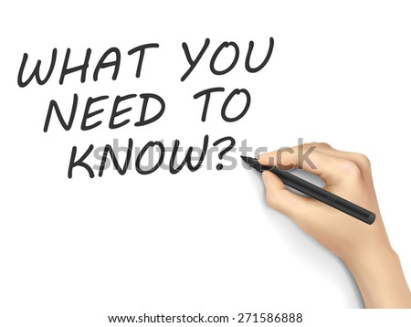 What you need to know written by hand on a transparent board - stock vector