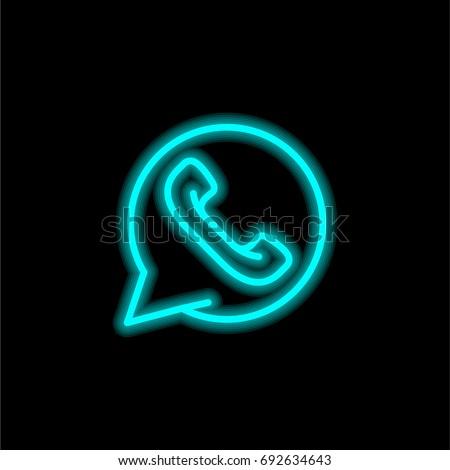 Whatsapp Blue Glowing Neon Ui Ux Stock Vector 692634643 ...