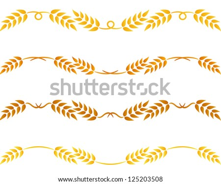 Wheat and rye decoration elements - stock vector